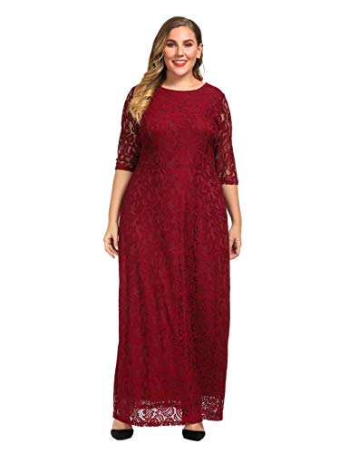 Chicwe Women's Plus Size Stretch Lace Maxi Dress – Evening Wedding Cocktail Party Dress Red 3X