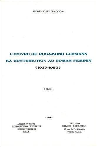 Livres gratuits L'Oeuvre de Rosamond Lehmann tome 2 pdf