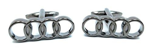 Teri's Boutique Men's Fashion Jewelry Audi Luxury Car Logo Silver Tone Cufflinks w/Gift Box (4)