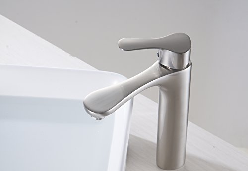 Brushed Nickel Faucet Waterfall Bathroom Spout Sink One: Aquafaucet Bathroom Faucet Sink Vessel Single Handle Lever