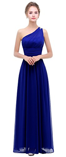 esvor One Shoulder Prom Party Evening Gown Long Bridesmaids Dress Royal Blue 6 (Royal Blue Ones)