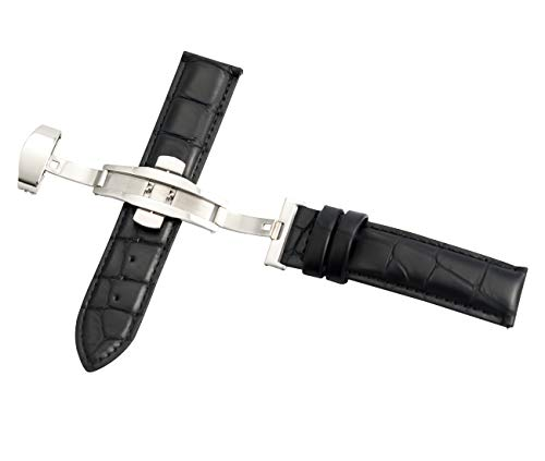18mm Black Crocodile Grain Leather Watch Band Strap Quick Release Strap Replacement with Butterfly Clasp