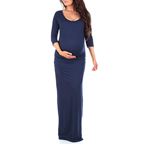 Ruched Sleeve Maternity Dress (Women's Ruched Bodycon Maternity Dress with by Mother Bee in Regular and Plus Sizes  Made in USA, Navy, X-Large)