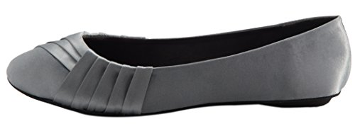Cambridge Select Women's Slip-On Closed Round Toe Woven Ballet Flat,9 B(M) US,Grey Satin by Cambridge Select