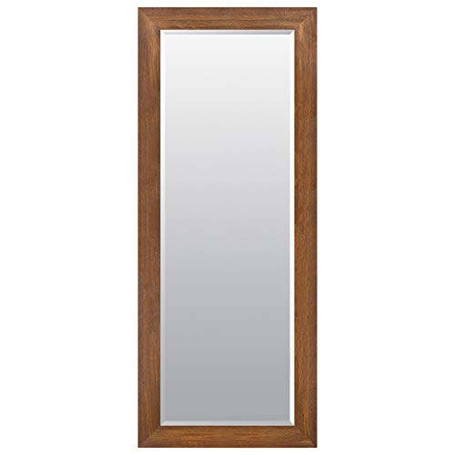 (Everly Hart Collection 24x70 Walnut Woodgrain Framed Beveled Wall or Leaner Mirrors Brown )