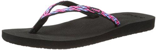 Reef Ginger Drift - Chanclas de material sintético para mujer multicolor (Black/Hot Pink/KHB)