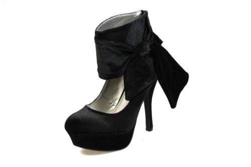 RascalBigBowVelvetCourNoirePlatform Shoes
