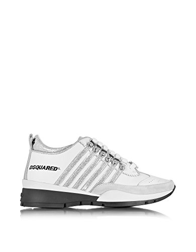DSQUARED2 WOMEN'S W16K2011067M241 WHITE LEATHER SNEAKERS