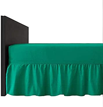 40cm Frill UKPL Plain Dyed Poly-Cotton 26cm Extra Deep Fitted Frilled Valance Sheet King Size Black