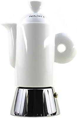 Italiano Espresso cafetera eléctrica acero inoxidable y blanco ...