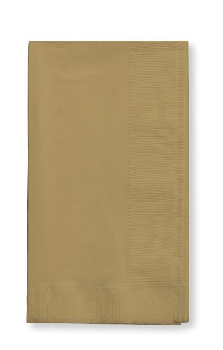 Creative Converting 673276B Touch of Color 2-Ply 50 Count Paper Dinner Napkins, Glittering Gold