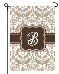 Monogram Chocolates - Home Garden Flags Monogram - Damask Cream & Chocolate Brown - 12.5 x 18 (Letter B)