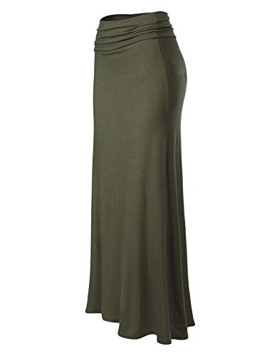 MixMatchy Women's Basic Foldable High Waist Regular and Plus Size Maxi Skirts Olive S