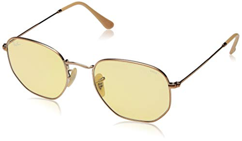Ray-Ban RB3548N Hexagonal Evolve Photochromic Flat Lenses Sunglasses, Copper/Yellow Photochromic, 54 ()