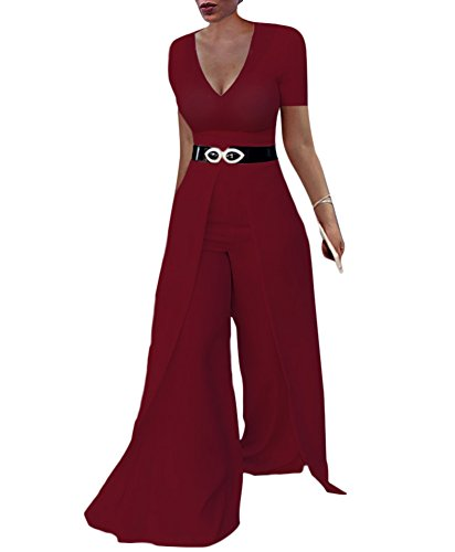 Dreamparis Womens Wide Leg Jumpsuits Romper Long Sleeve High Waisted Flare Palazzo Pants Suit Wine ()
