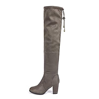 DREAM PAIRS Women's Highleg Khaki Suede Over The Knee Thigh High Winter Heel Boots - 10 M US | Knee-High