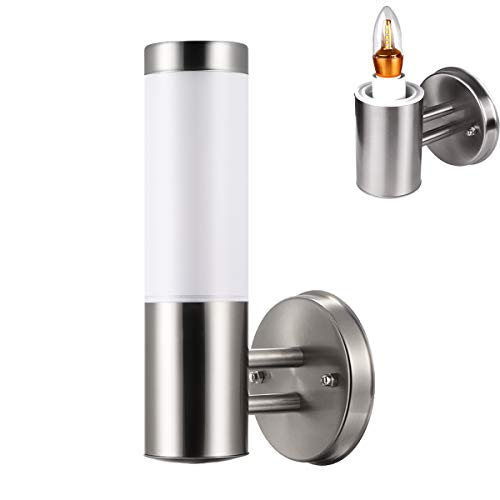 LED Wall Sconce Light ONEVER Waterproof Stainless Steel E27 LED Wall Light Indoor/Outdoor Cylinder IP65 Wall Lamp Lighting AC 100-230V (Bulb included) ()
