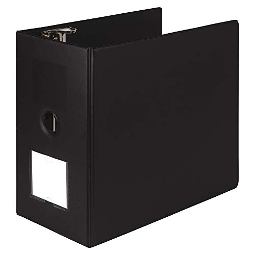 (Samsill Heavyweight Reference Ring Binder, 3 Ring Binder with Label Holder for Home or Office, 6 Inch Locking D-Rings - Holds 1225 Sheet, Black)