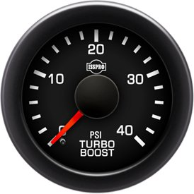 ISSPRO R17333 EV² Electronic Turbo Boost 0-40 - Full Kit, Black Face, Red Pointer, Green Backlight, Black Bezel, Black