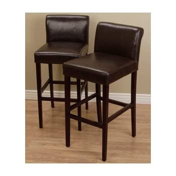 Amazon Com Cosmopolitan Dark Brown Leather Counter Stools