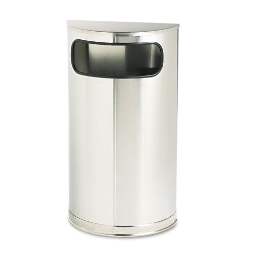 Rubbermaid SO8SSSPL European & Metallic Series Receptacle, Half-Round, 9gal, Satin Stainless