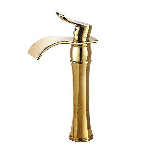 Senlesen Single Handle Tall Waterfall Spout Bathroom Sink Countertop Faucet Basin Mixer Tap Ti-PVD Finish