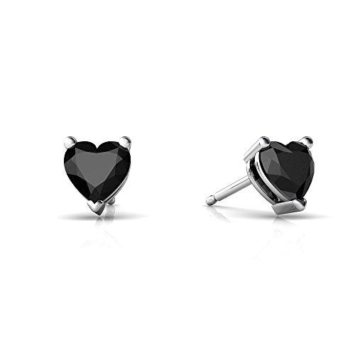 14kt Gold Black Onyx 5mm Heart Heart Stud Earrings