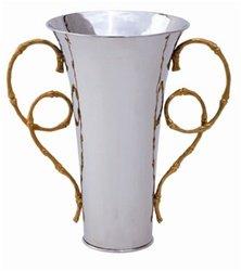 L'Objet Evoca Small Nickelplate Vase, 24kt Gold Plated Handles