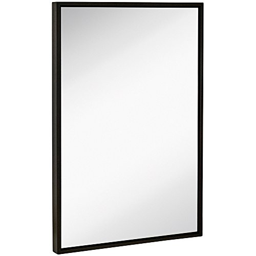 (Hamilton Hills Clean Large Modern Black Frame Wall Mirror | Contemporary Premium Silver Backed Floating Glass Panel | Vanity, Bedroom, or Bathroom | Mirrored Rectangle Hangs Horizontal or Vertical)