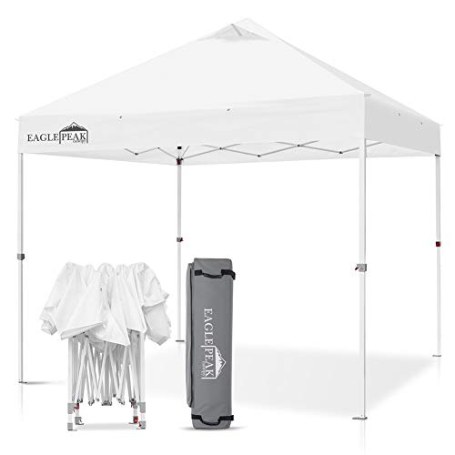 EAGLE PEAK 10 x 10 Commercial Canopy Tent Pop Up Instant Canopy Shelter with 100 Square Feet of Shade White