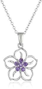 "Sterling Silver Amethyst Flower Pendant Necklace, 18"""