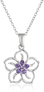 """Sterling Silver Genuine African Amethyst Flower Pendant Necklace, 18"""" (B0016L6RCC)   Amazon Products"""