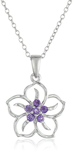 - Sterling Silver Genuine African Amethyst Flower Pendant Necklace, 18