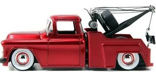 1955 1:24 Scale CHEVROLET STEPSIDE TOW TRUCK Just Trucks Series With Extra Wheels (Brown/White)