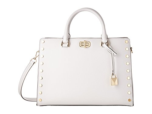 MICHAEL Michael Kors Sylvie Large Studded Leather Satchel in Optic White