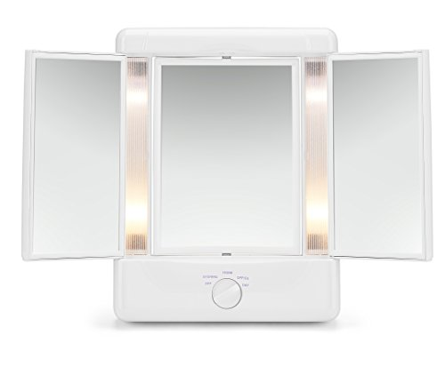 Illumina by Conair Collection Two-Sided Lighted Makeup Mirror with 3 Panels and 4 Light Settings ()