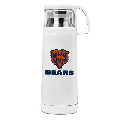 Jeffredy Custom Travel Thermos Chicago Bears Cup Cover Water Bottle Vacuum Stainless Steel Thermos Hot & Cold Beverage Bottle Drinks 350ML ()