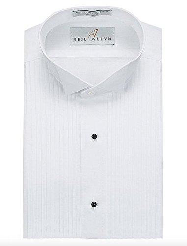 Neil Allyns Women's White Formal Pleated Tuxedo Shirt, 1/4 Wing, 12