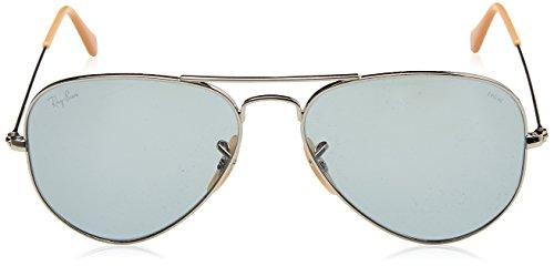 Ray para Hombre sol Metal Large Aviator Ban Blue Photocromic de Gafas Plateado 0rwq608x