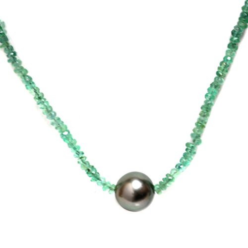 (Tahitian South Sea Pearl Emerald Solitaire Necklace 11 MM AAA 18k Solid White Gold Princess Length)