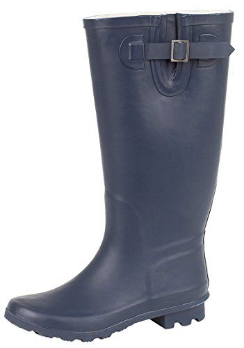 Boots Size Wellies Calf 3 8 Snow Dora Rain Wellington Uk Lora Navy Ginocchio Blue Shoes Wide Ladies q8cOPz