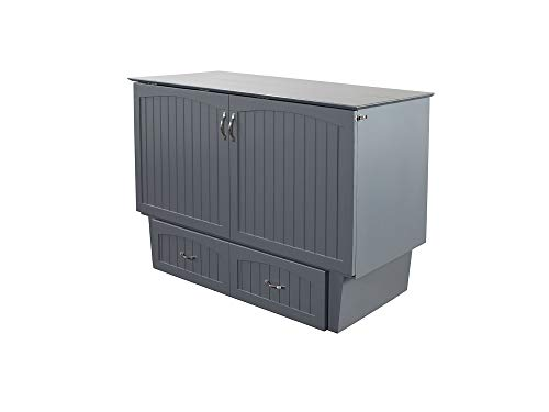 - Atlantic Furniture AC5940009 Nantucket Murphy Bed Chest with Charging Station & Mattress, Queen, Grey