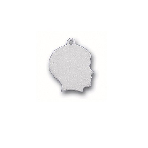 Boy Head Silhouette Charm - Sterling Silver Engraveable Boy Head Silhouette Charm Item #2409