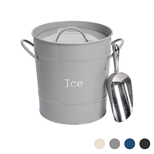 Harbour Housewares Industrial Ice Bucket with Scoop – Vintage Style Double Walled Steel Champagne Cooler – Grey
