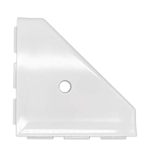 Questech Geo Lugged Shower Corner Shelf 8 inch Bathroom Shower Shelf | Wall Mounted Corner Shelf Shower Caddy New Construction (Bright White Polished) (Corner Shelf Inch 8)