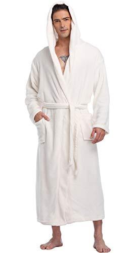 (Men's Hooded Robe Long Plush Fleece Bathrobe Soft Spa Robe, Ivory, L/XL)