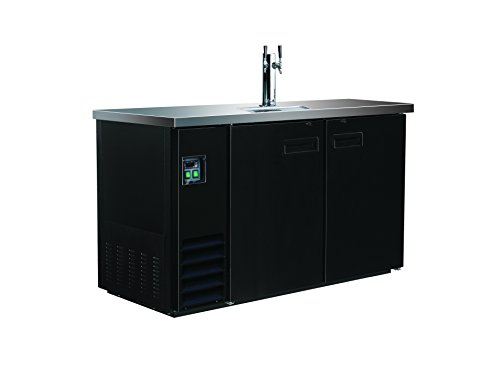 Maxx Cold MXBD48-1B Commercial NSF Bar Direct Draw Kegerator Beer Dispenser Cooler with 1 Single Tower Tap Holds 2 Half 1/2 Size Keg, 47.5 Inch Wide 10.5 Cubic Feet , Black