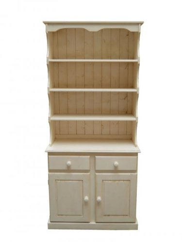 Wye Pine Welsh Dresser with High Canopy - Distressed - Colour: Cream