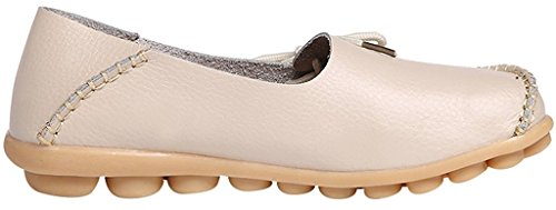 Slipper 1 Cowhide Beige Flat Women's Sty Slip Fangsto ONS Shoes Loafers Leather vBpt11qw