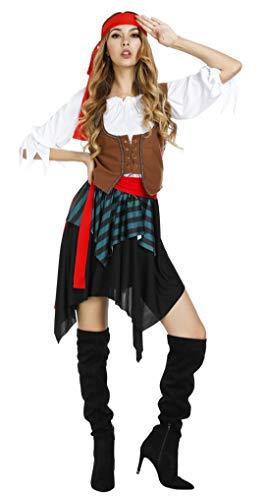 Kranchungel Women's Pirate Costume Sweet Buccaneer Halloween Roleplay Cosplay Dress Up Small -